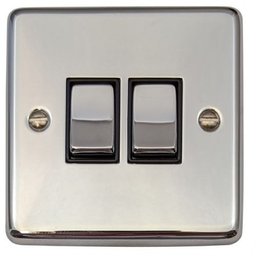G&H CC302 Standard Plate Polished Chrome 2 Gang 1 or 2 Way Rocker Light Switch
